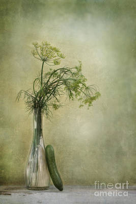 Still Life With Dill And A Cucumber Art Print by Priska Wettstein