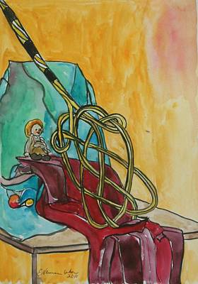 Painting - Still Life With Doll And Carpet Beater by Esther Newman-Cohen