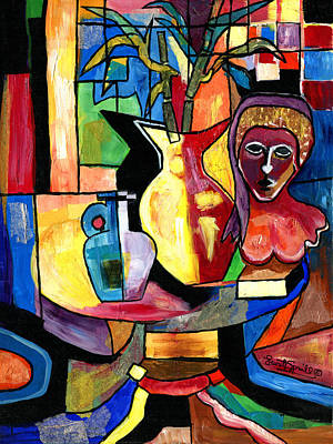 Popstar And Musician Paintings Royalty Free Images - Still Life with Female Bust  Royalty-Free Image by Everett Spruill