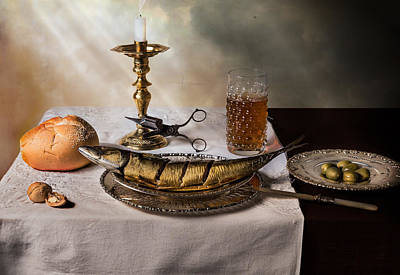 Photograph - Still Life With Fish-bread-olives And Snuffed Candle by Levin Rodriguez