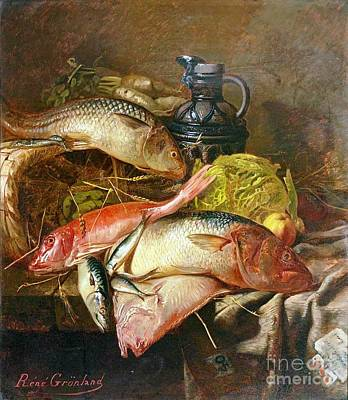 Pitcher Painting - Still Life With Fish by Pg Reproductions