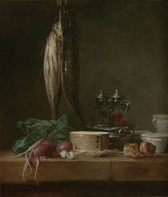 Still Life With Fish, Vegetables, Gougères Art Print by Litz Collection