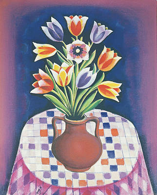 Folk Art Photograph - Still Life With Flowers, 1967 Oil On Canvas by Radi Nedelchev