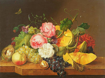 Still Life With Flowers And Fruit, 1821 Art Print