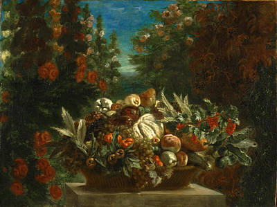 Still Life With Flowers And Fruit Print by Eugene Delacroix