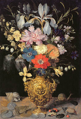 Daffodils Painting - Still Life With Flowers, C.1604 by Georg Flegel