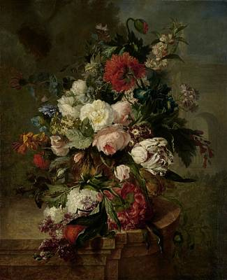 Painting - Still Life With Flowers by Harmus Uppink