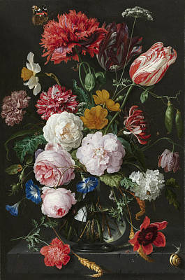Heem Drawing - Still Life With Flowers In A Glass Vase by Litz Collection