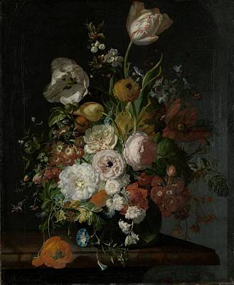 Painting - Still Life With Flowers In Glass Vase by Rachel Ruysch
