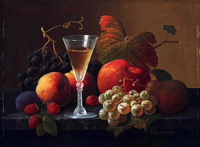 Still Life With Fruit And A Wine Glass Print by Severin Roesen