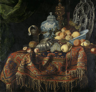 Maltese Drawing - Still Life With Fruit And Crockery On A Turkish Carpet by Litz Collection