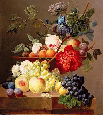 Still Life With Fruit And Flowers Art Print by Anthony Obermann