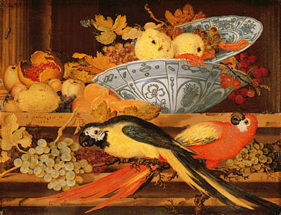 Quince Painting - Still Life With Fruit And Macaws, 1622 by Balthasar van der Ast