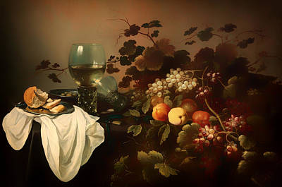 Still Life With Fruit And Roemer Art Print by Mountain Dreams