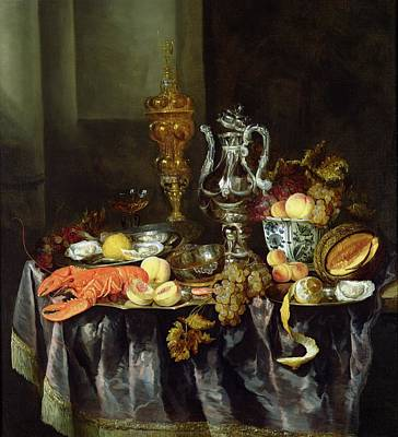 Tableware Photograph - Still Life With Fruit And Shellfish Oil On Canvas by Abraham Hendricksz van Beyeren