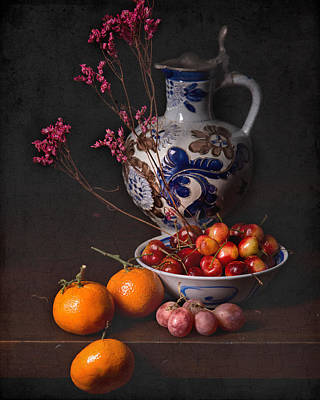 Still Life With Cherries-oranges And Blue Tankard  Art Print by Levin Rodriguez