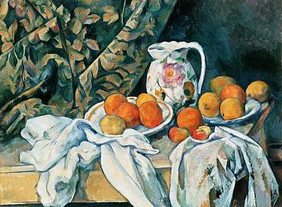 Painting - Still Life With Fruit Curtain And Flowered Pitcher by Paul Cezanne