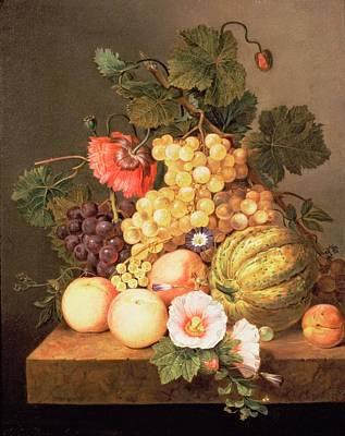 Still Life With Fruit Print by Johannes Cornelis Bruyn