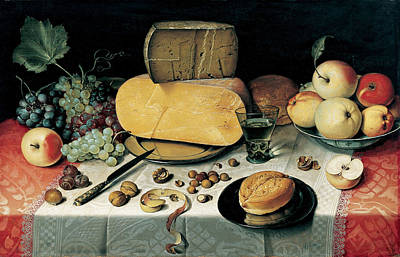 Bread And Cheese Painting - Still-life With Fruit Nuts And Cheese by Floris van Dyck