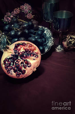 Polished Steel Photograph - Still Life With Fruits And Roses by Jaroslaw Blaminsky