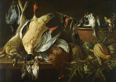Netherlands Painting - Still Life With Games And Vegetables by Adriaen van Utrecht
