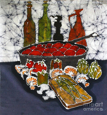 Tapestry - Textile - Still Life With Garden Bounty And Fish by Carol Law Conklin