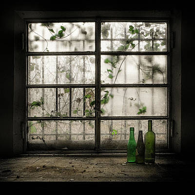 Windowsill Photograph - Still-life With Glass Bottle by Vito Guarino