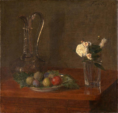 Still Life With Glass Jug Fruit And Flowers Art Print