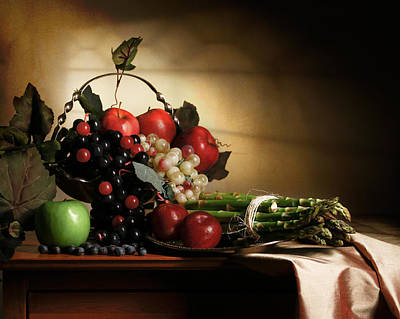Still Life With Grapes And Asparagus Art Print by Levin Rodriguez