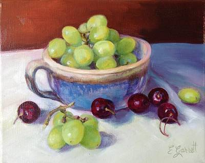 Still Life With Grapes And Cherries Art Print