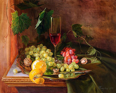 Still Life With Grapes And Grapevine Art Print