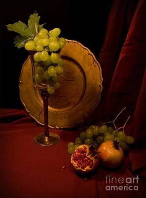 Bunch Of Grapes Photograph - Still Life With Grapes And Pomegranate by Jaroslaw Blaminsky