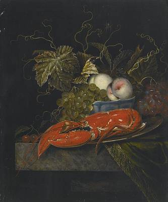 Still Life Painting - Still Life With Grapes Peaches And A Lobster by Celestial Images