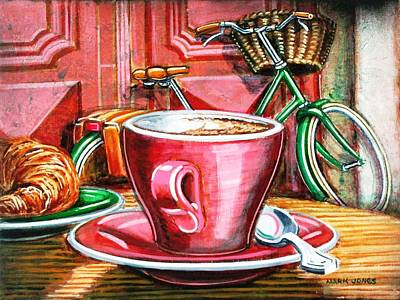 Dusky Pink Painting - Still Life With Green Dutch Bike by Mark Jones