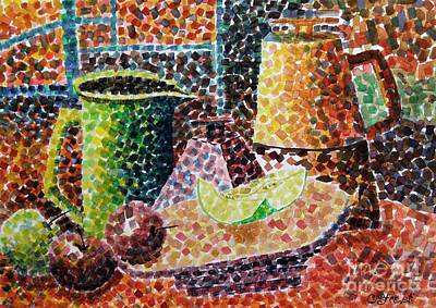 Tableware Painting - Still Life With Green Jug Painting by Caroline Street