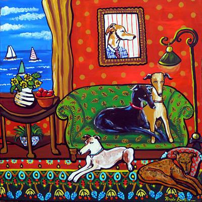 Rescued Greyhound Painting - Still Life With Greyhounds by Renie Britenbucher
