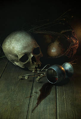 Still Life With Human Skull And Silver Chalice Art Print by Jaroslaw Blaminsky