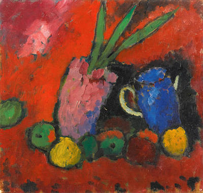 Blue Jug Painting - Still-life With Hyacinths Blue Jug And Apples by Alexej Jawlensky