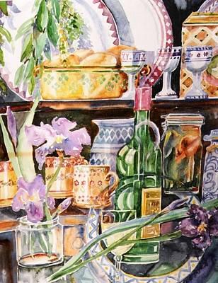 Still Life With Irises Art Print by Trudi Doyle