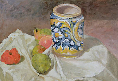 Pottery Painting - Still Life With Italian Earthenware Jar by Paul Cezanne