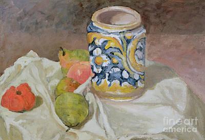 Pears Painting - Still Life With Italian Earthenware Jar by Paul Cezanne