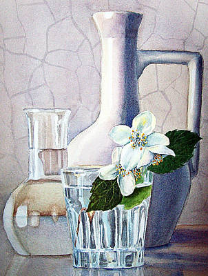 Ceramics Painting - Still Life With Jasmine by Irina Sztukowski