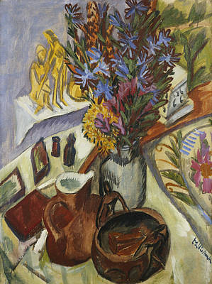 Interior Still Life Painting - Still Life With Jug And African Bowl by Ernst Ludwig Kirchner