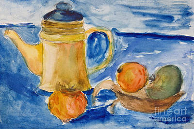 Paper Images Drawing - Still Life With Kettle And Apples Aquarelle by Kiril Stanchev