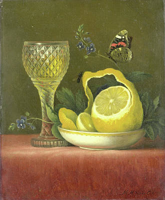 Lemon Drawing - Still Life With Lemon And Cut-glass Wine Goblet by Litz Collection