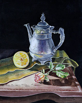 Coffee Painting - Still Life With Lemon And Rose by Irina Sztukowski