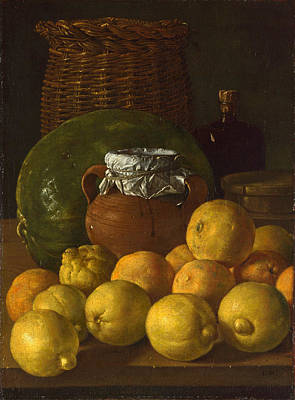 Luis Sales Painting - Still Life With Lemons And Oranges by Luis Egidio  Melendez