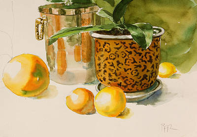 Painting - Still Life With Lemons And Potted Plant by Pablo Rivera