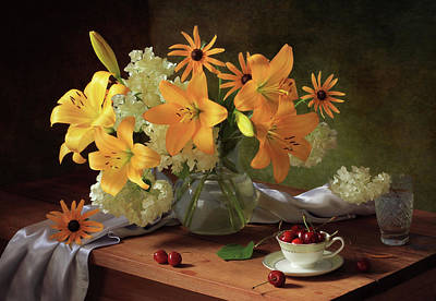 Cherry Flowers Photograph - Still Life With Lilies by ??????????? ??????????