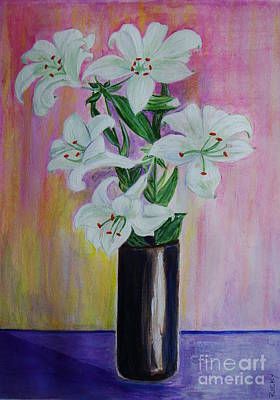 Lilies - Painting Art Print by Veronica Rickard